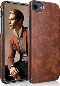 LOHASIC iPhone SE Case 2020/iPhone 7 Case/iPhone 8 Case, Thin Slim Leather Luxury PU Soft Flexible Bumper Non-Slip Grip Shockproof Full Body Protective Cover Cases for iPhone SE2 iPhone 8/7 - Brown