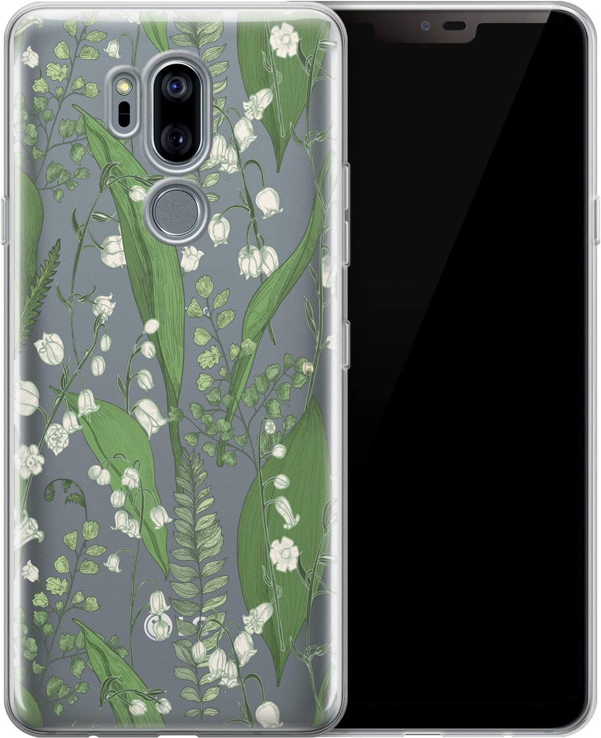 Ufola Case Compatible with LG K30 2019 G8 Stylo 6 K61 G7 ThinQ G6 V40 V50 K8 Clear Cover Print Flexible Cool TPU Design Soft Smooth Slim Lilies of The Valley White Wooden Floral Flowers Botanical
