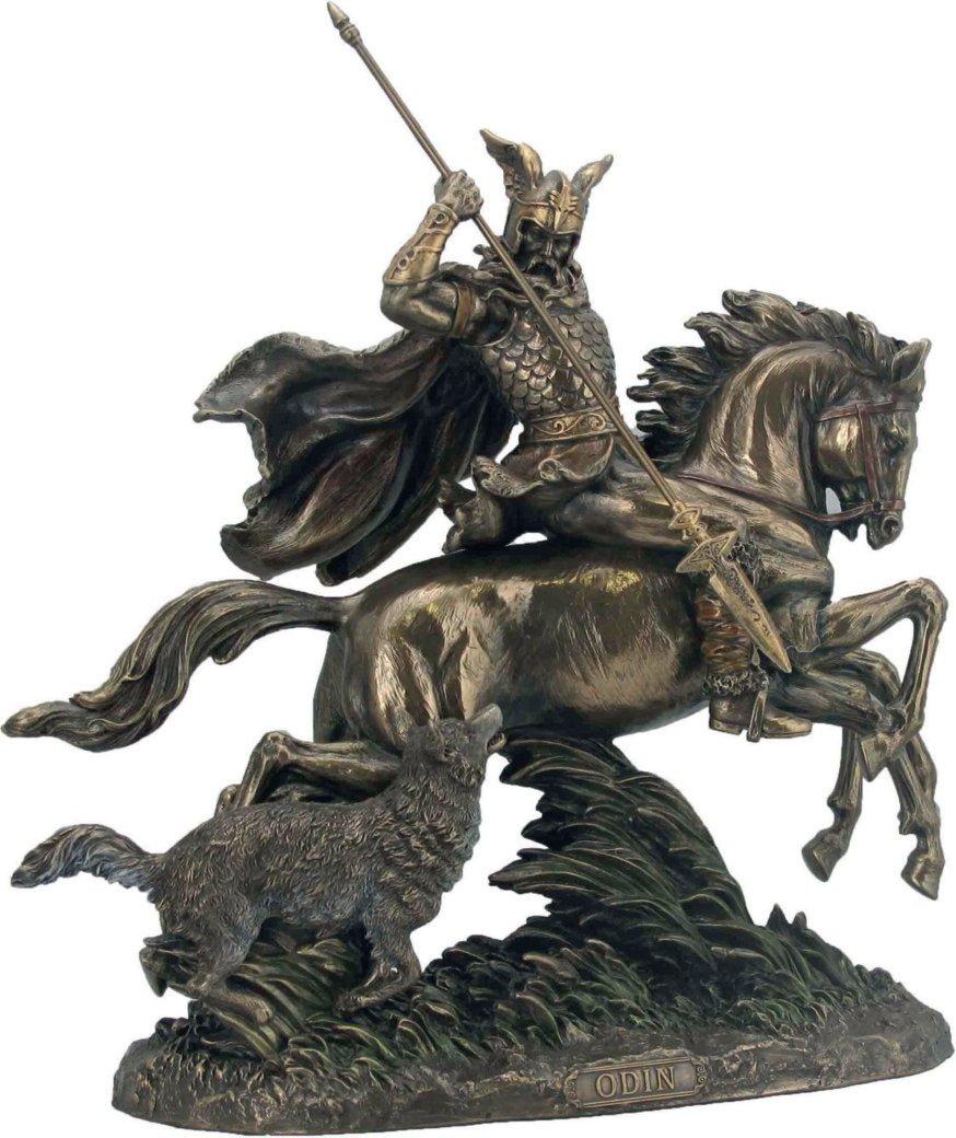 Göttervater Odin auf 8 flüssigem Pferd Sleipnir mit Wolf + Speer bronziert Sammel Figur