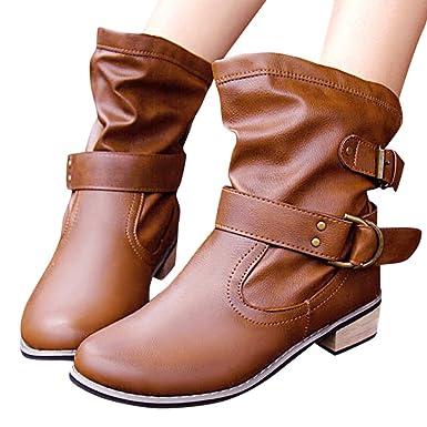 Malloom Botas de Mujer Cuero Impermeables Botines Hombre Invierno Zapatos Nieve Piel Forradas Calientes Planas Combate Militares Martin Boots: Amazon.es: ...