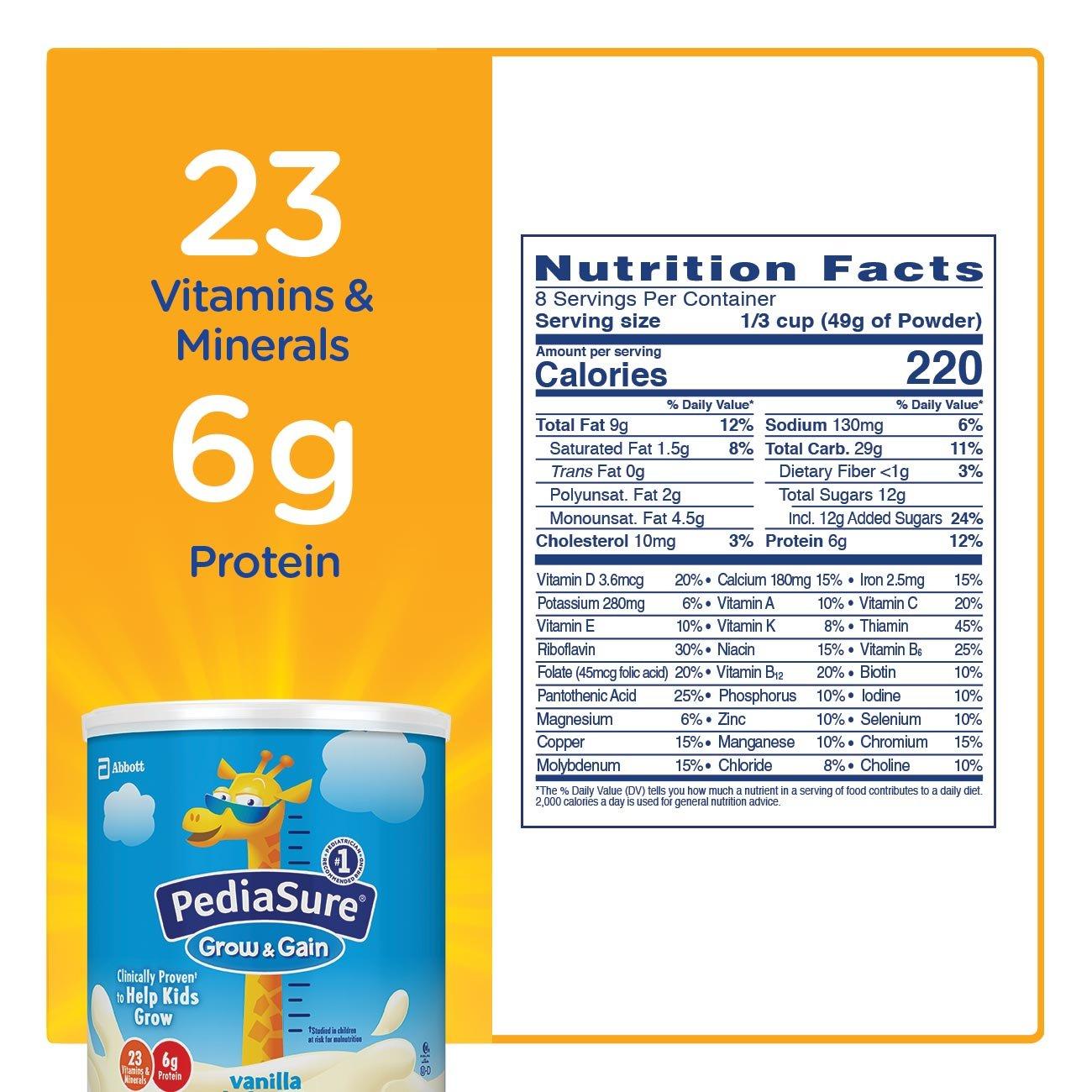 PediaSure Grow & Gain Non-GMO Vanilla Shake Mix Powder, Nutrition Shake for Kids, 14.1 oz, 3 Count by Pediasure (Image #5)