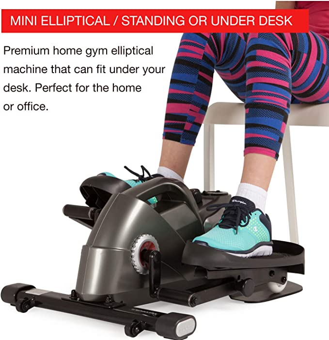 HUIHUI Exercise Step Machine Under Desk Elliptical Trainers,Pedal Exerciser Elliptical Stepper Machine,Quiet Cycle Exercise Bike W//Adjustable Resistance And LCD Monitor For Home/&Office Workout