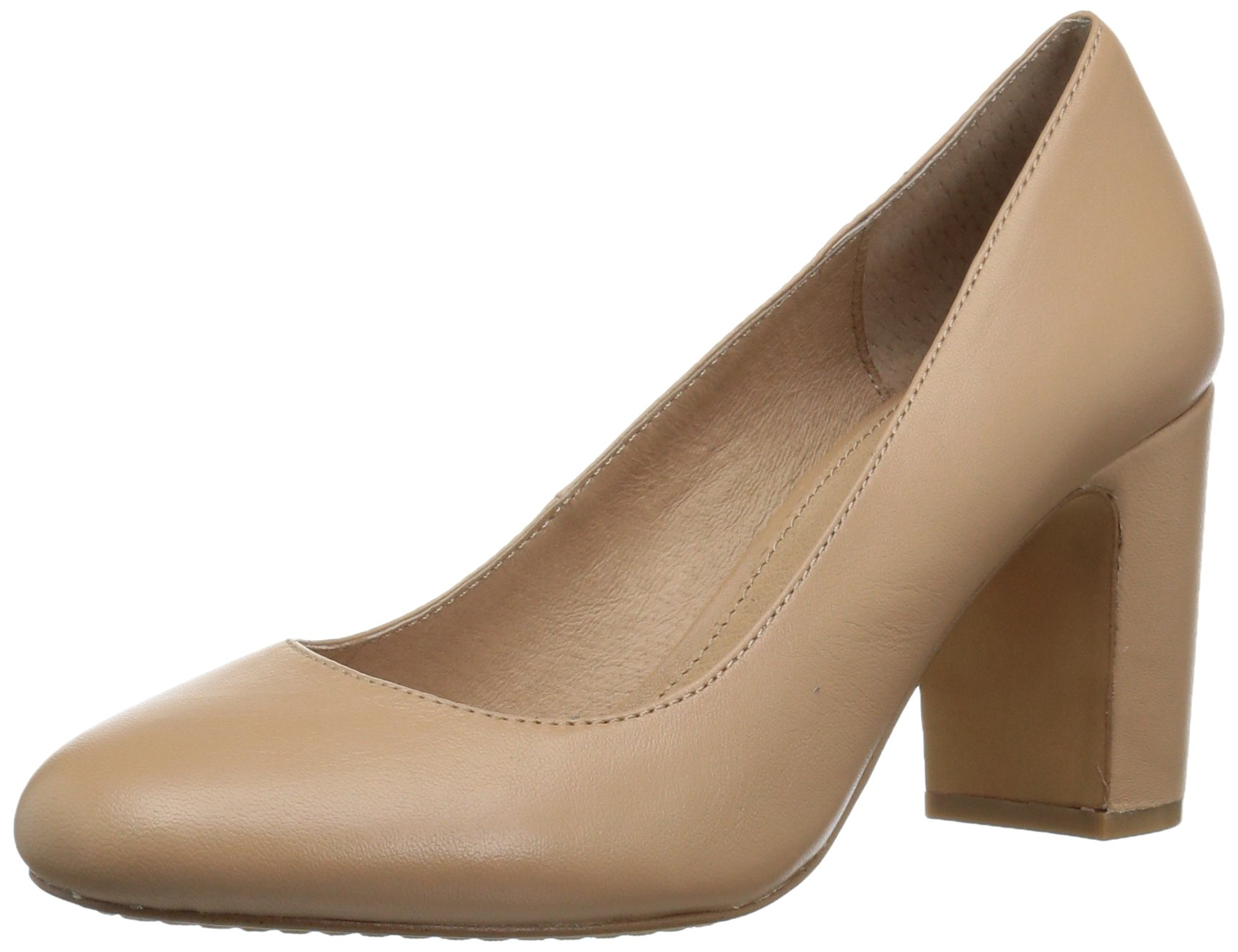 206 Collective Women's Coyle Round Toe Block Heel High Pump, Neutral Leather, 8.5 B US