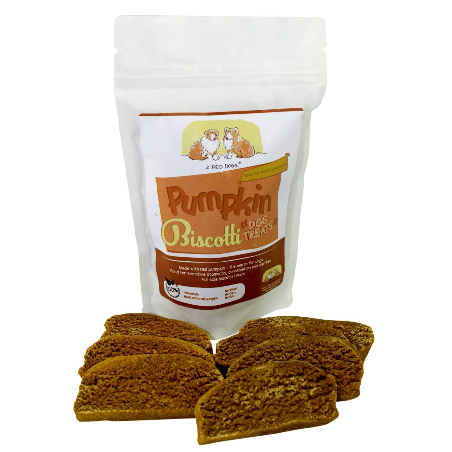 2 Red Dogs Pumpkin Biscotti All Natural Baked Dog Treats | Healthy Cookies Great Flavor Food Supplement Dog Cookies | Human Grade Wholesome Ingredients for Sensitive Stomachs 710gfJl22BgL
