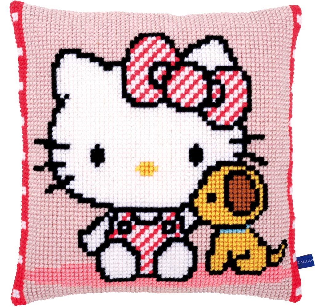 Vervaco Hello Kitty with Dog Pillow Cover Needlepoint Kit