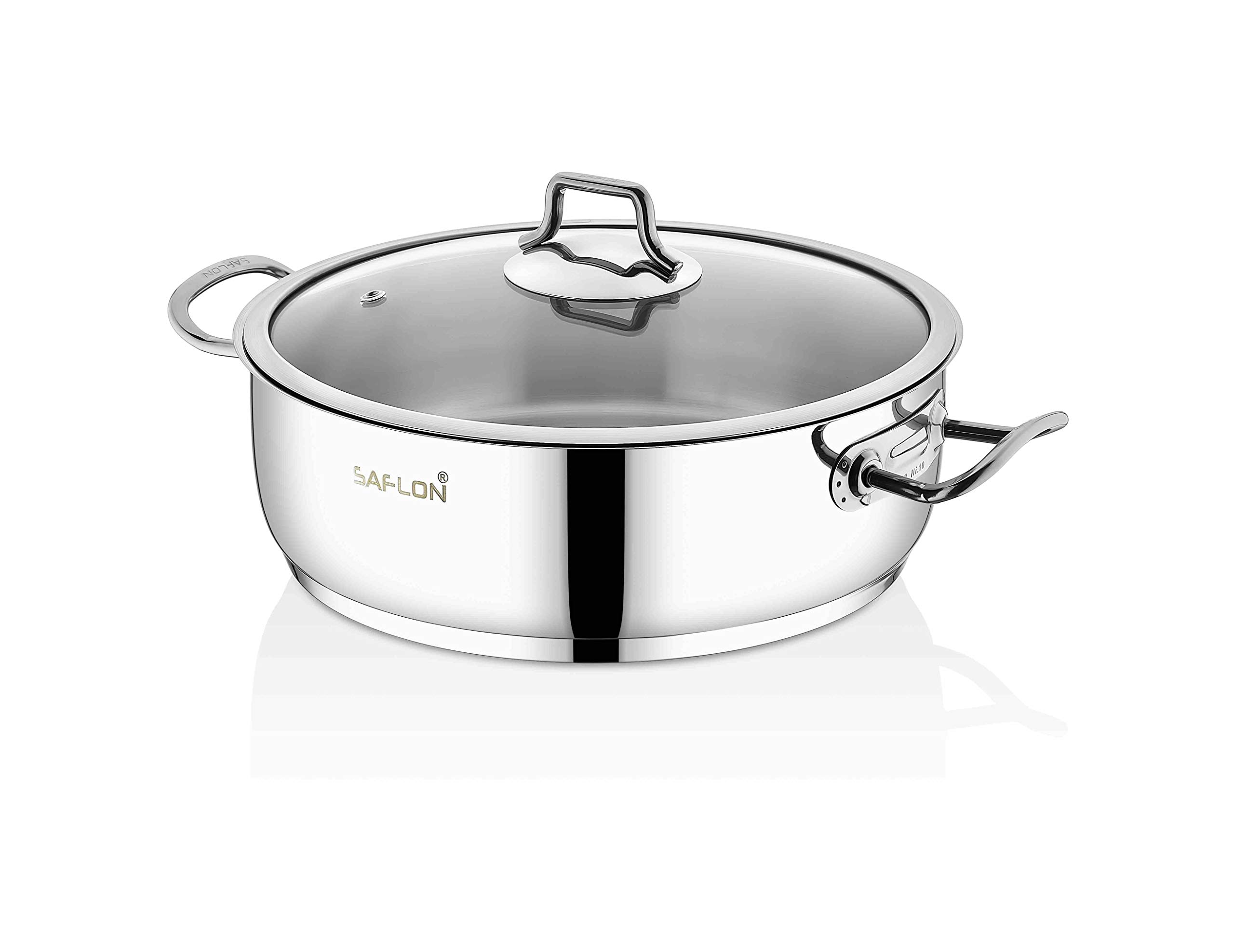 Saflon Stainless Steel Tri-Ply Capsulated Bottom 4 Quart Saute Pot with Glass Lid, Induction Ready, Oven and Dishwasher Safe