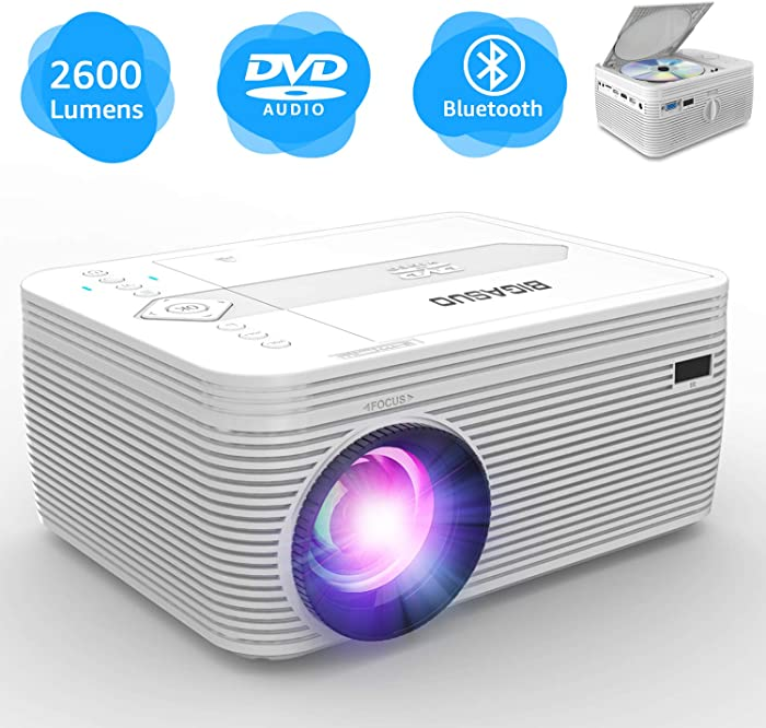 BIGASUO Projector with DVD Player, Portable Bluetooth Projector 2600 Lumens Built in DVD Player, Mini Projector Compatible with Fire TV Stick, Roku, PS4, Xbox, 170'' Display, 1080P Supported