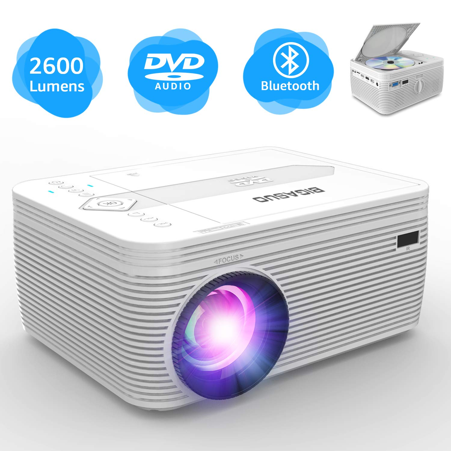BIGASUO Projector with DVD Player, Portable Bluetooth Projector 2600 Lumens Built in DVD Player, Mini Projector Compatible with Fire TV Stick, PS4, Xbox, 170'' Display, 1080P Supported