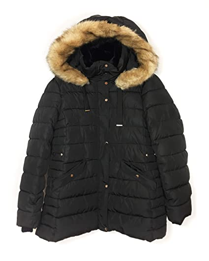 2153625786 Zara Women's Water-Resistant Quilted Parka 4391/202 Black: Amazon.co ...