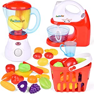 FUN LITTLE TOYS Kids Play Kitchen, Pretend Play Set with Mixer, Blender, Play Foods and Accessories