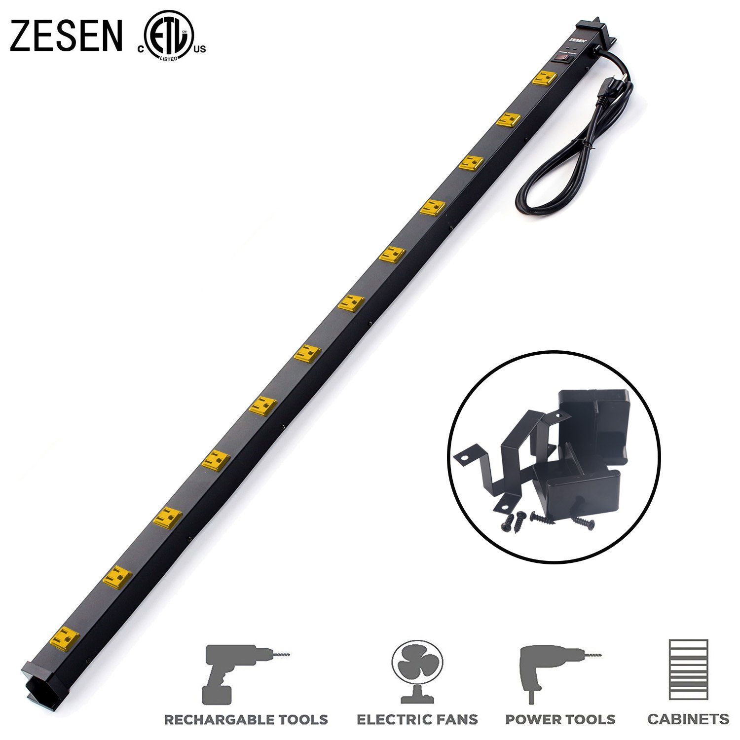 ZESEN 12 Outlet Heavy Duty Workshop Metal Power Strip Surge Protector with 4ft Heavy Duty Cord, ETL Certified, Black by ZESEN
