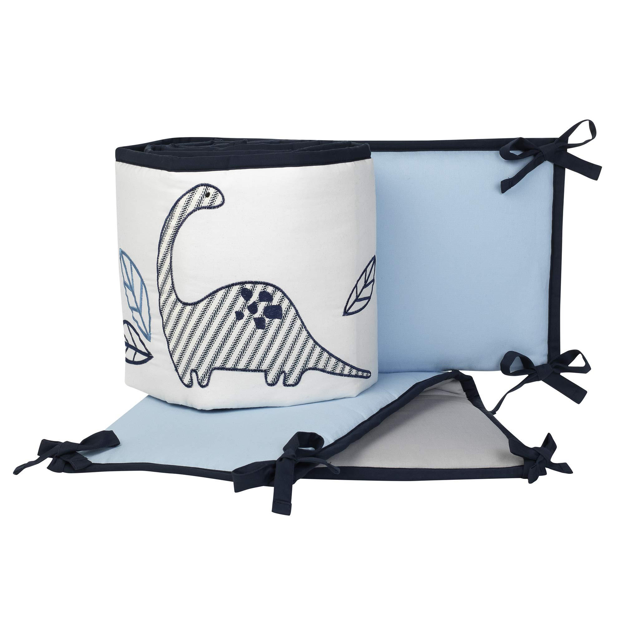 Lambs & Ivy Baby Dino Blue/White Dinosaur 4-Piece Baby Crib Bumper Pads Set by Lambs & Ivy