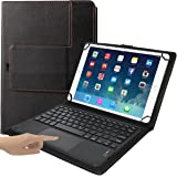 """Eoso TouchPad Keyboard case for 9"""", 10"""",10.1"""",10.5"""" Tablets,2-in-1 Bluetooth Wireless Keyboard with Touchpad & Leather Folio"""