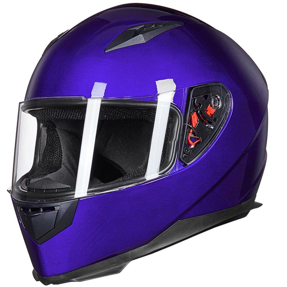 ILM Full Face Motorcycle Street Bike Helmet with Removable Winter Neck Scarf + 2 Visors DOT (S, Blue)