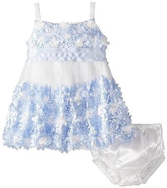 d8dc8760413 Baby Girls Periwinkle-Blue Ivory Die Cut Bonaz Rosette Bubble Mesh Dress  (12 Months