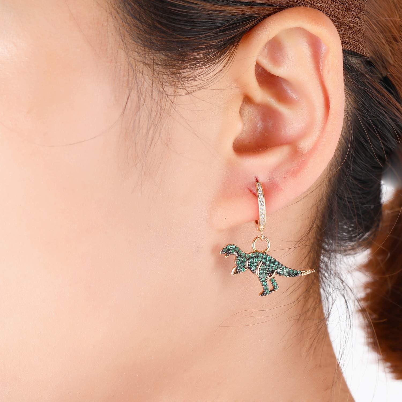 da donna regalo per mamma e amici Orecchini a cerchio con pendente a forma di dinosauro placcati in argento e oro rosa ipoallergenici con zirconi