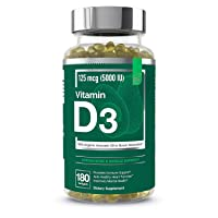 Vitamin D3 5000 IU Softgels with Organic Avocado Oil to Boost Absorption - Essential Elements | Strong Bone & Muscle, Immune Support