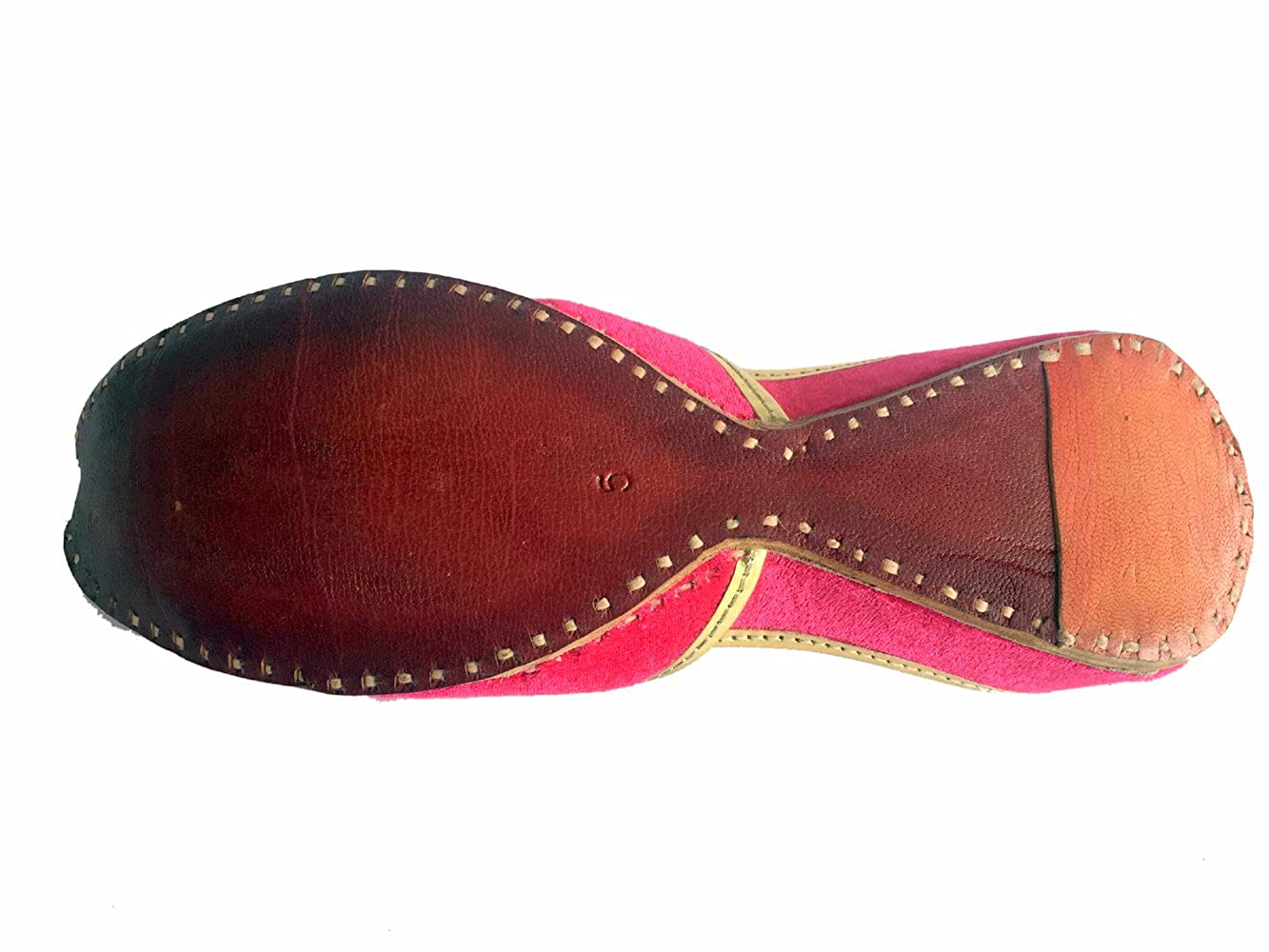 Step n Style Womens Pink Khussa Shoes Punjabi Ghungroo Jutti Ethnic Mojari Handmade Ballerina Shoes Casual Sandal