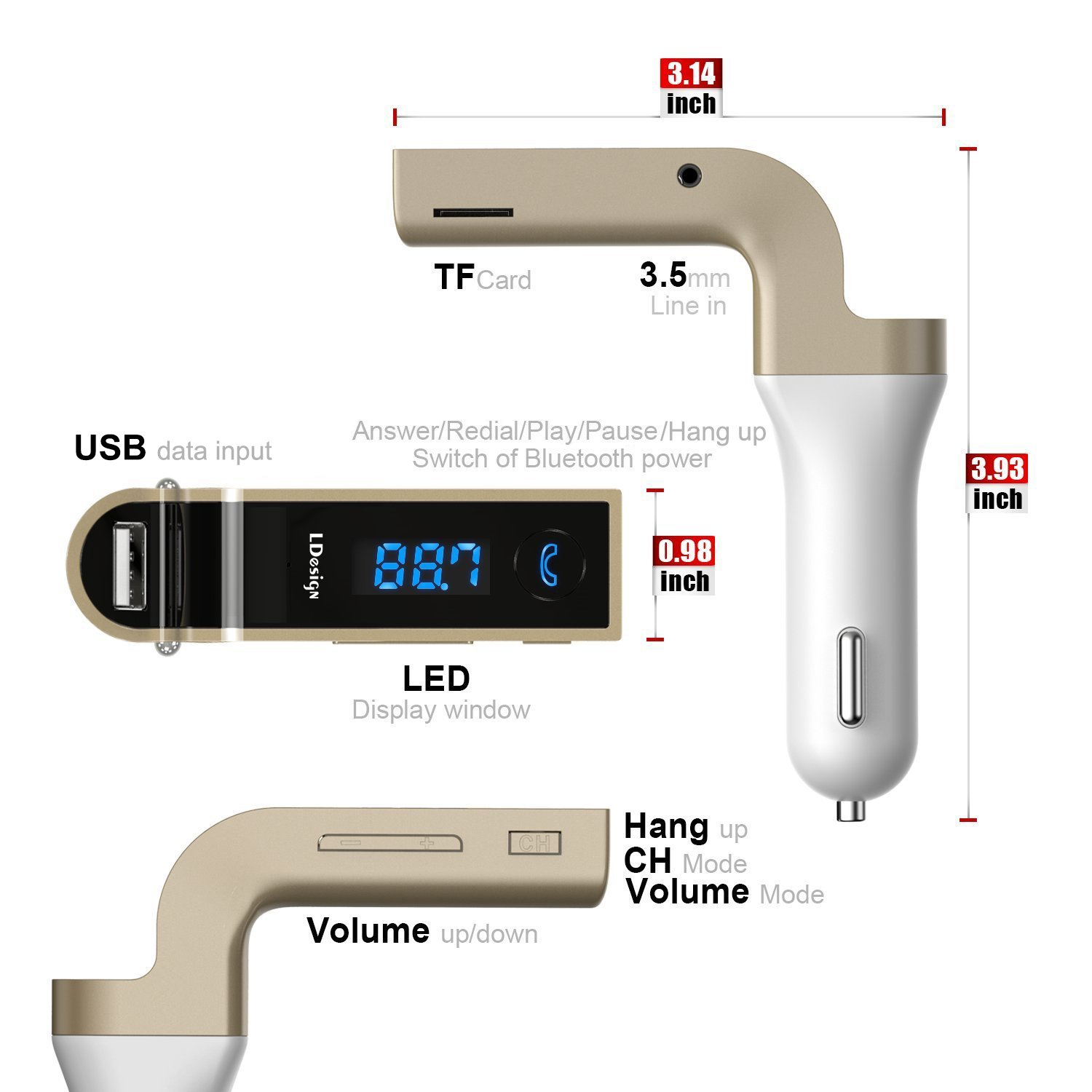 Bluetooth FM Transmitter, LDesign Wireless in-Car FM Radio Adapter Car Kit with Handsfree Call   AUX Input   HD 4-Modes Music Play Applicable for iPhone, Samsung and Other Smartphone,Tablet-Gold