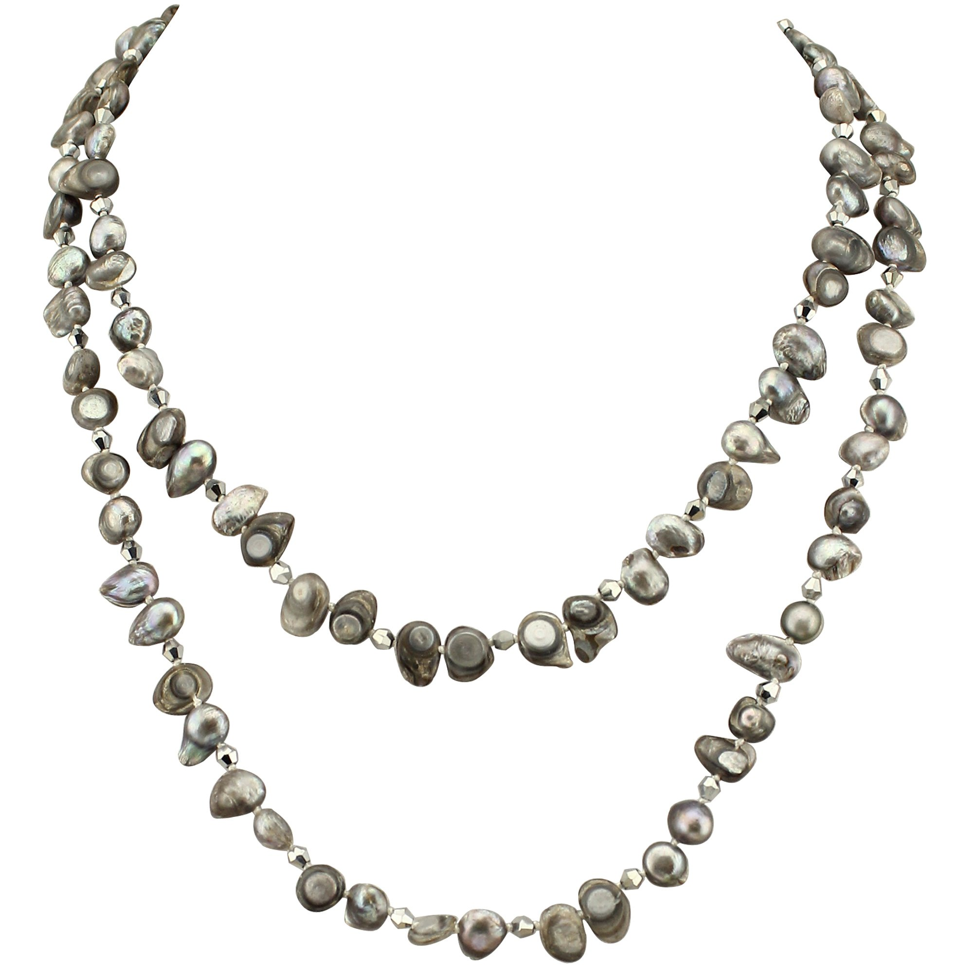 Freshwater Cultured Pearl Beaded Necklace Long Pearl Strand Necklace Handmade Jewelry 47''