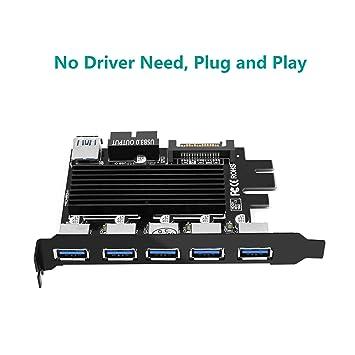 Bawanfa USB 3.0 Tarjeta PCIE, 5 Puertos USB 3.0 (5 GPS) PCI Express Expansión Card Adapter, Compatible con MacOS, Linux, y Windows. No Necesita ...