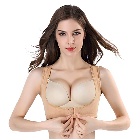 c02d532284e5a Queenral Women s Chest Push-Up Magic Bra Shaper Chest Orthosis Gather  Shapewear Vest Apricot