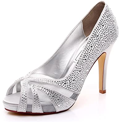 Amazon.com | LUXVEER Satin Bridal Shoes With Silver Rhinestone ...