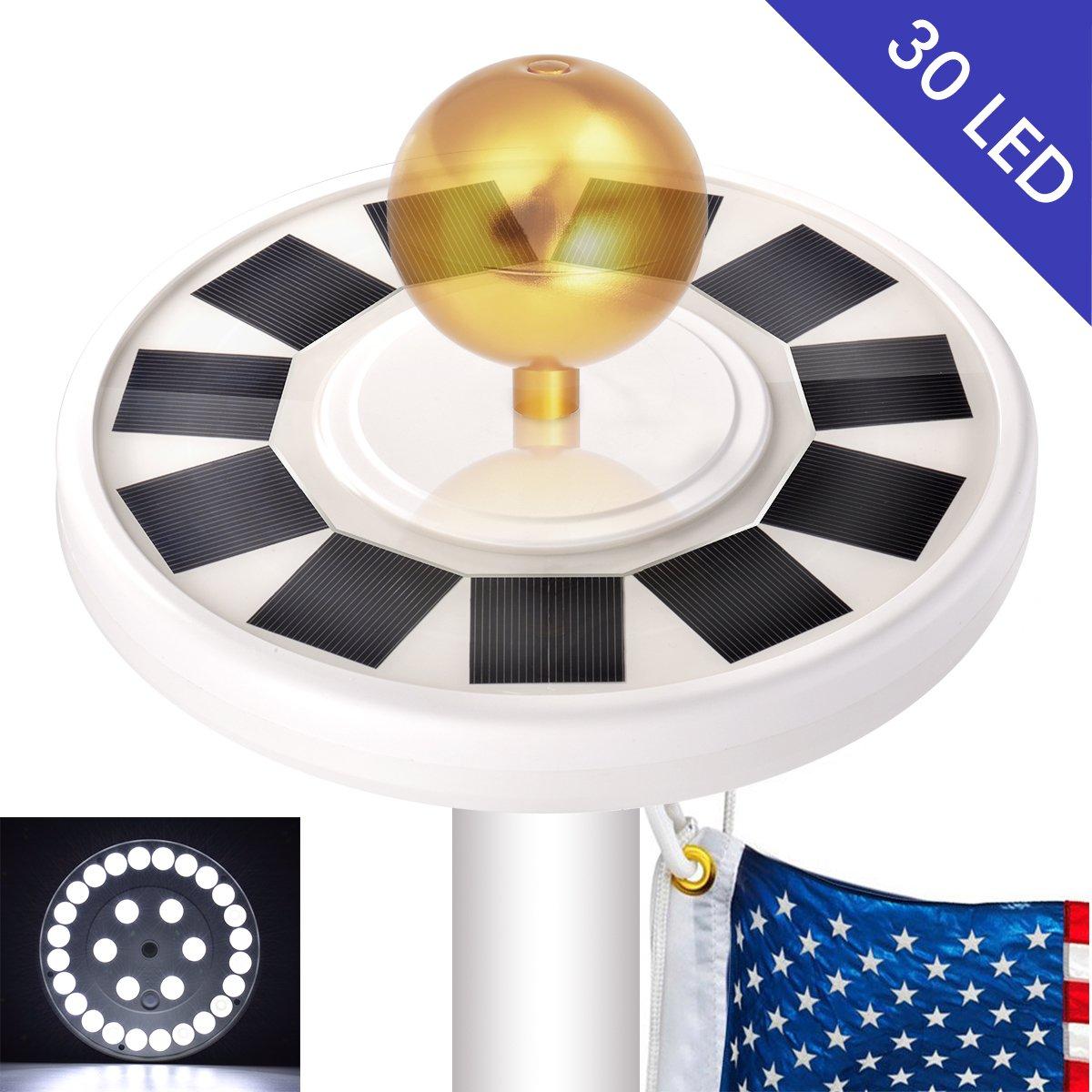 30 LED Solar Flag lights Flagpole Pole Lights Solar Powered Super Bright IP65 Waterproof, Bonega 30 LED Solar Flag Pole Lights Outdoor Dusk to Dawn for Most 15Ft 16ft 20Ft 25Ft Auto On/Off Night Light