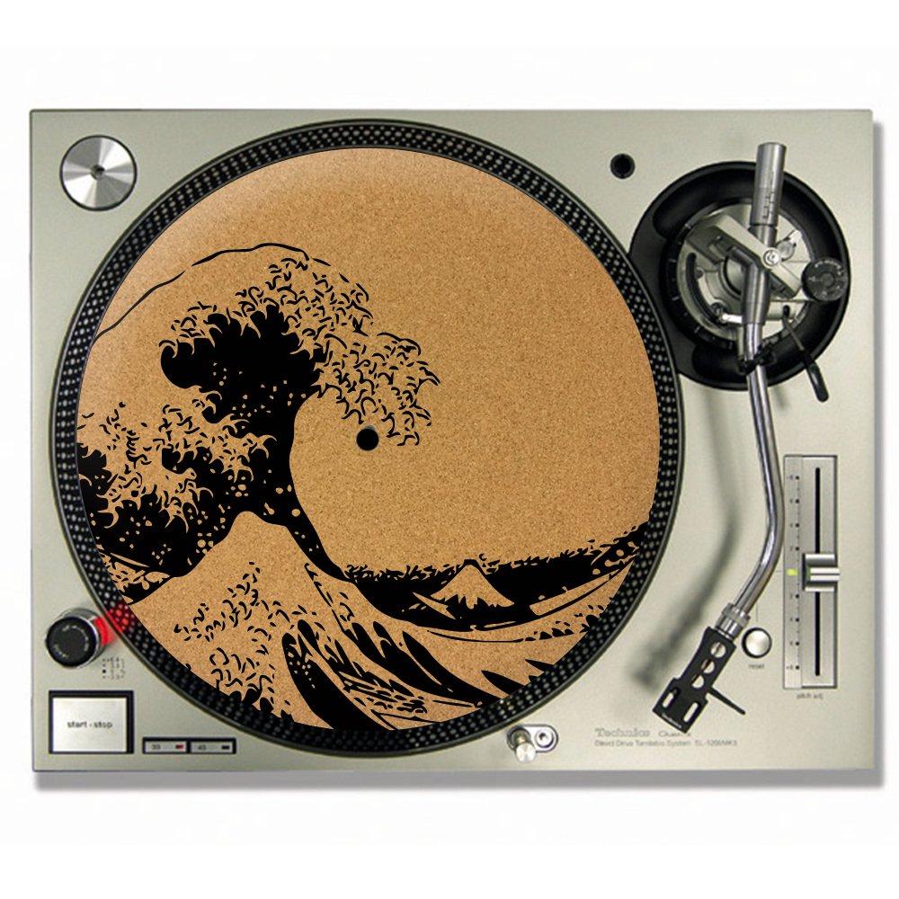 La Grande Vague De Kanagawa Hokusai en liège feutrine pour DJ/platine vinyle Slip–Tapis