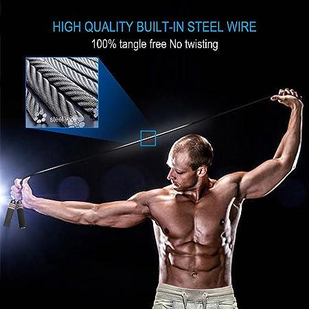 Gym- Noir Rouge Jump Rope pour Fitness Crossfit Boxe Ergonomique Anti-Glissant Poign/ée Souple Adulte Corde /à Sauter pour Enfants Skipping Rope R/églable ACERD Corde /à Sauter