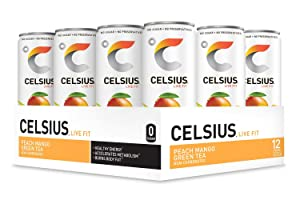 CELSIUS Peach Mango Green Tea Non-Carbonated Fitness Drink, ZERO Sugar, 12oz. Slim Can, 12 Pack