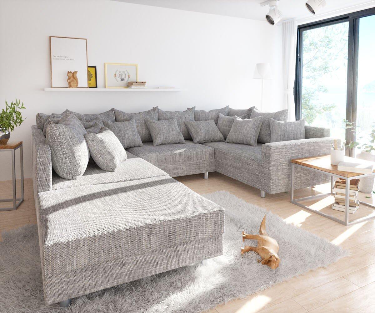 Couch Clovis Hellgrau Strukturstoff Mit Hocker Und Armlehne