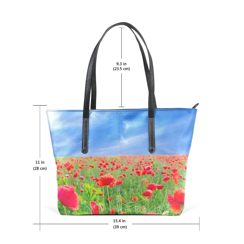 WOOR Poppy Blue Sky Women's Soft Leather Zipper Closure Large Handbags Tote Shoulder Bags