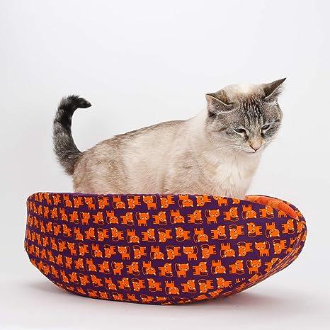 Amazon Com Cat Canoe Modern Cat Bed In Purple And Orange Tiger