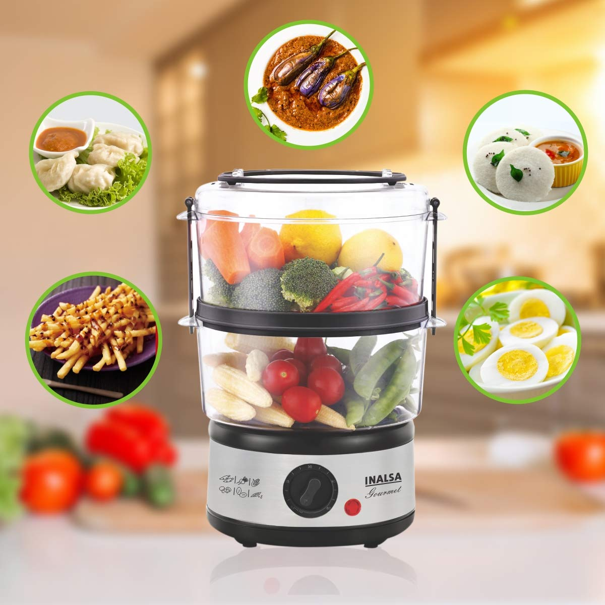 5L Gourmet Multi-Function 500W-Food Steamer & Egg Boiler with LED Indicator in 2020