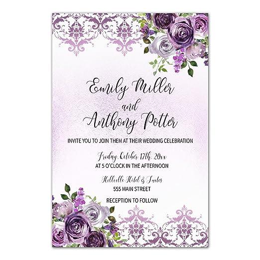 100 invitaciones de boda personalizado morado floral damasco + ...
