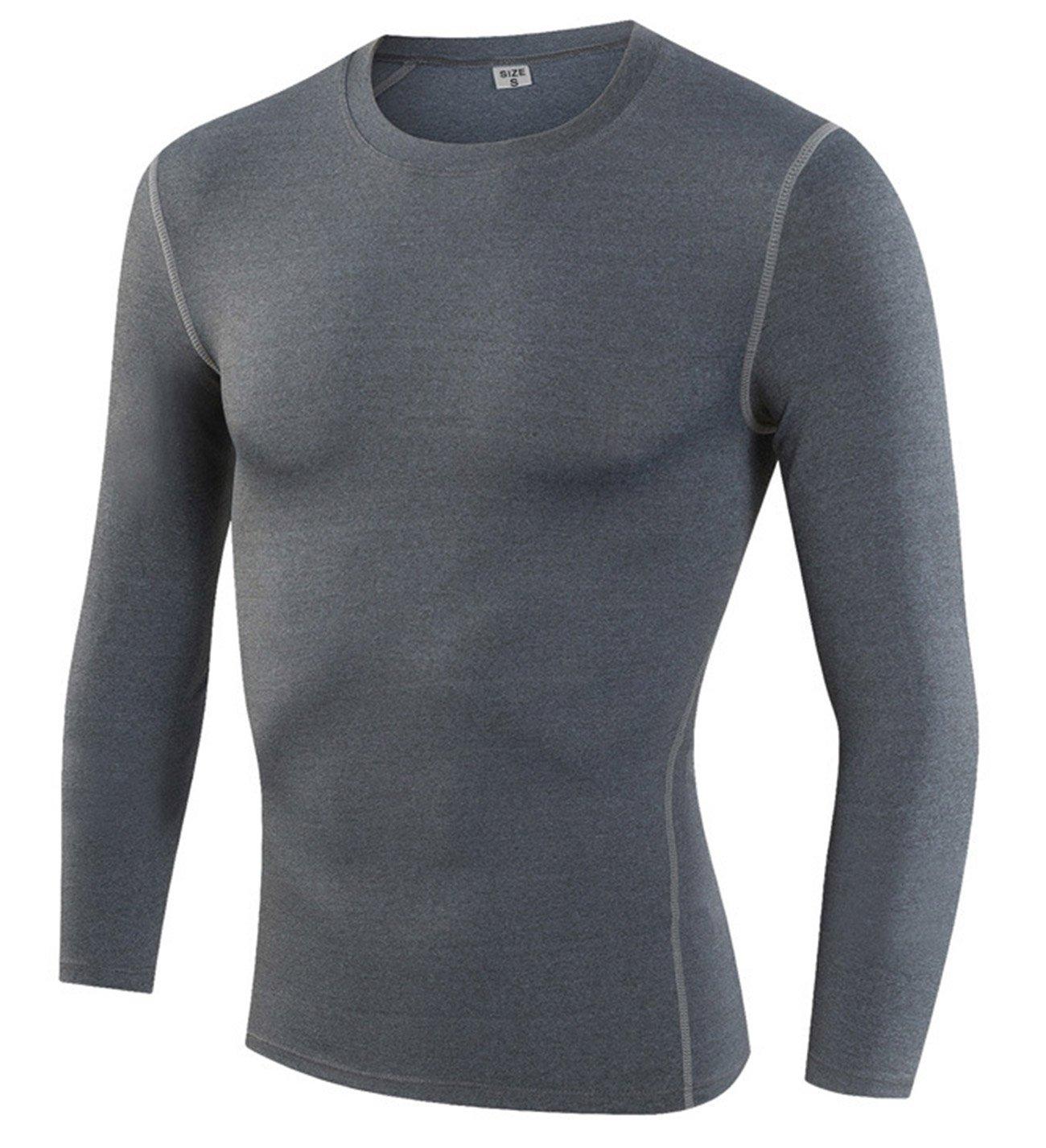 yuerlianメンズ圧縮シャツ長袖Thermal Baselayer coldgeat Running Shirts B074X4W4MC グレー Tag size M/US XS