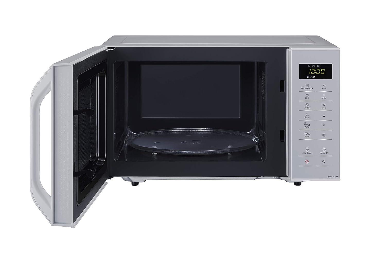 Panasonic NN-K35H - Microondas con Grill (800 W, 23 L, 5 Niveles de Potencia, Grill de Cuarzo de 1000 W, Plato Giratorio de 288 mm, Control Táctil, 11 ...