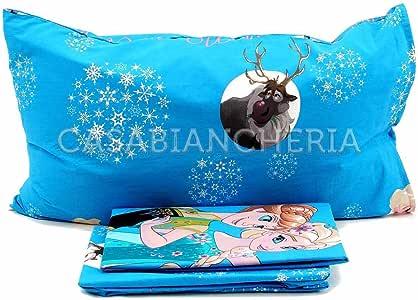 Disney Juego DE SÁBANAS 100% ALGODÓN Cama de 90 cm Azul Modelo Frozen: Amazon.es: Hogar