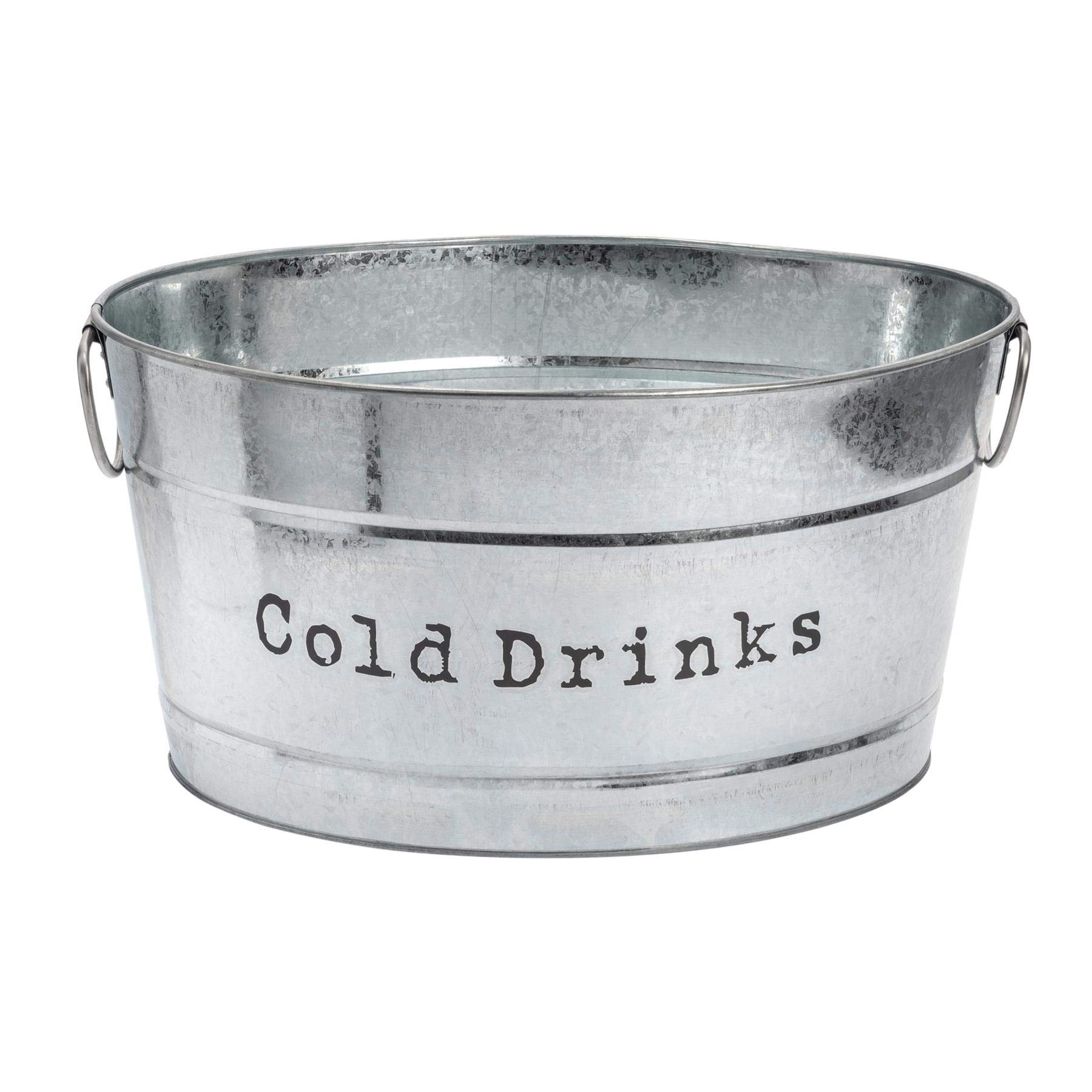 Harbour Housewares Industrial Cold Drinks Bucket - Large Vintage Style Steel Party Cooler Tub - Side Handles - Silver