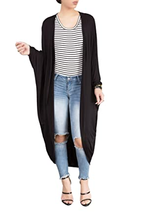 Amazon.com: Women's Long Sleeve Open Front Maxi Duster Cardigan ...