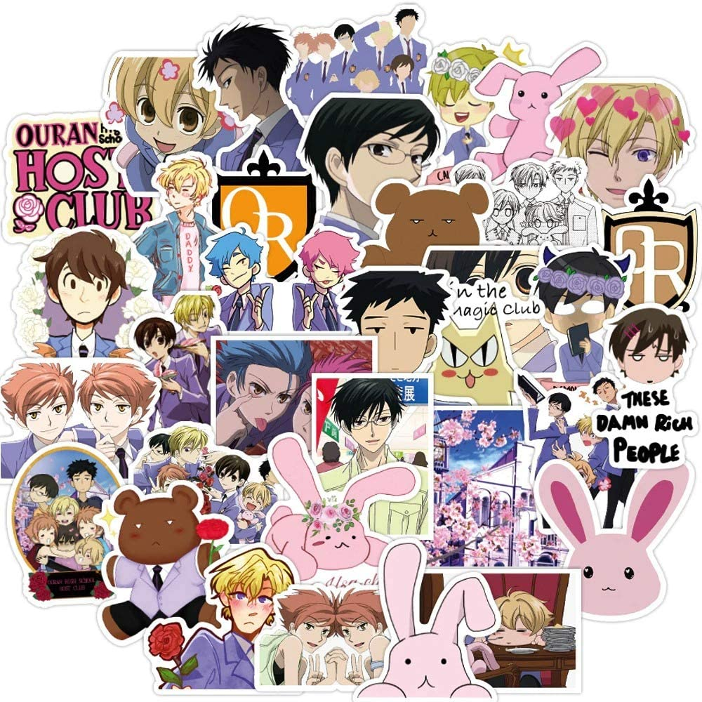 50pcs Anime Ouran High School Host Club Sticker Japan Classic Anime Waterproof Decals Skateboard Sticker for Laptop Suitcase DIY