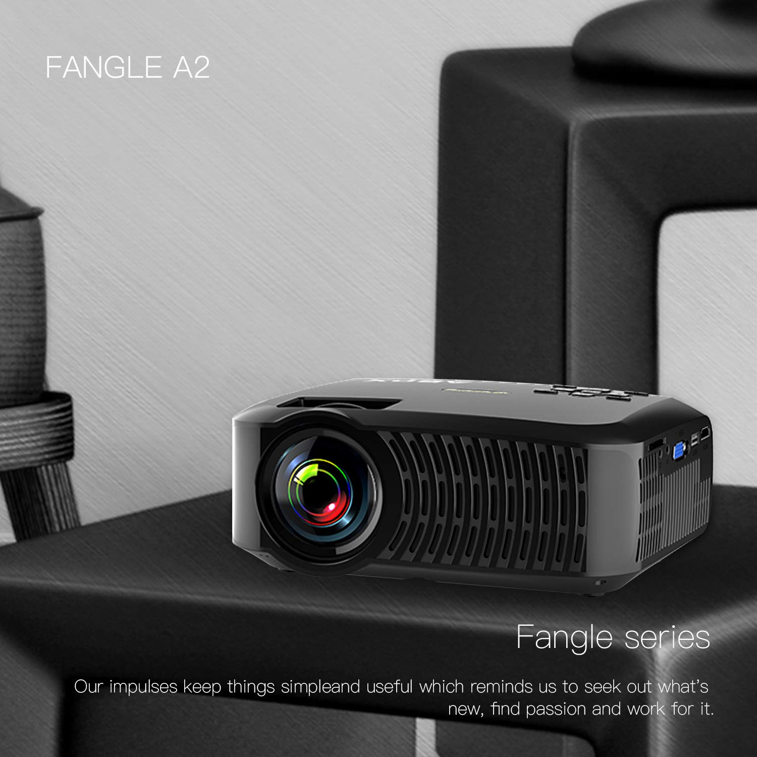 Projector, ABOX A2 LED Movie Video Projector with Full HD Native 720p, 100 ANSI Lumen, 180'' Big Screen, Hifi Speaker, Support 1080p with HDMI/USB/SD Card/VGA/AV Ports For Home Theater/Laptop/TV/Phones by GooBang Doo (Image #2)