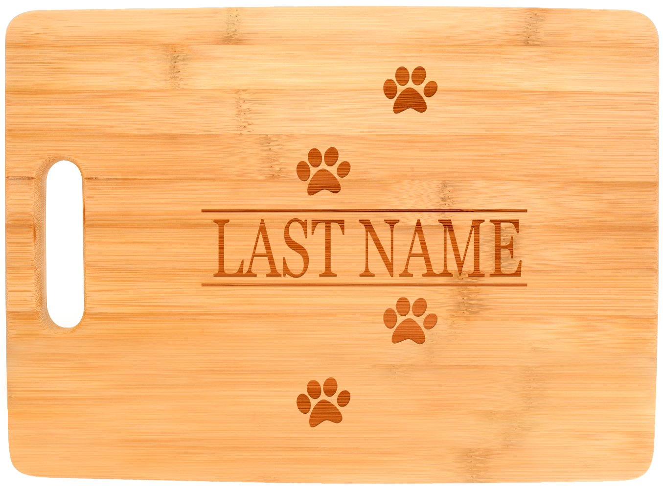 Customized Last Name Dog Cat Lover Wedding Gift Personalized Big Rectangle Bamboo Cutting Board