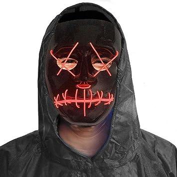 EL Draht leuchten Halloween Masken, 3V LED Neon blinkende Licht ...