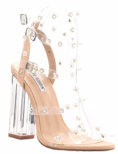 4e3504acb Amazon.com | Cr Maria-37 Strappy Lucite Perspex Clear Block Heel Studs Open  Toe Sandals Nude 6.5 | Heeled Sandals
