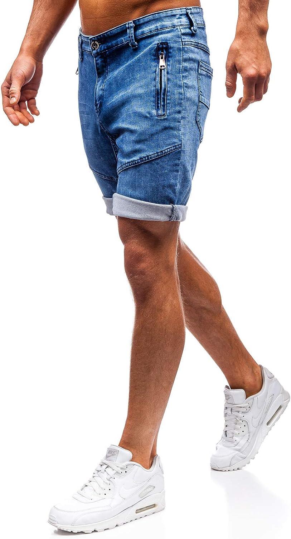 BOLF Mens Denim Shorts Ribbed Drawcord Pockets Fake Fly Summer Sport Casual Mix 7G7