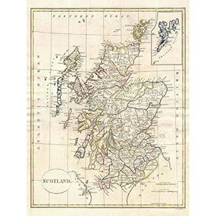 photograph about Printable Map of Scotland named Wee Blue Coo 1799 Clement Cruttwell Map Scotland Classic Artwork Print Poster Wall Decor 12X16 Inch