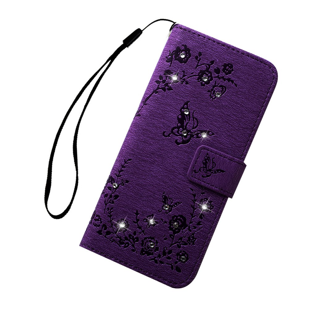 Maxfe.co for Samsung Galaxy S9 Case Shockproof Floral Butterfly PU Leather Wallet Flip Magnet Case Cover for Samsung Galaxy S9 with Card Slots Built-in Kickstand +Touch Pen Purple