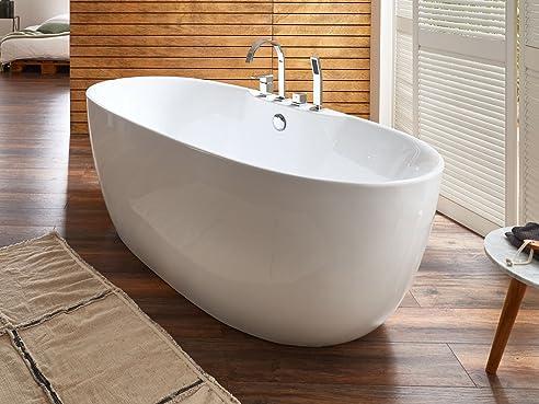 Freistehende Badewanne mit Armatur Acryl weiß Modern 170x80cm Kiel ... | {Badewannen armaturen freistehend 27}